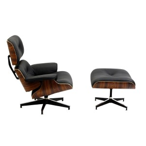 Lounge Chair in Black Leather and Palisander Wood